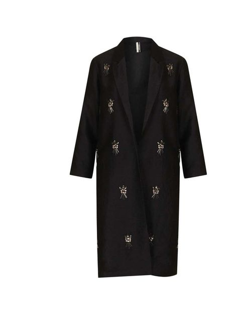 """<p>A touch of embellishment is a node to the festive season...</p><p><a href=""""http://www.topshop.com/en/tsuk/product/clothing-427/jackets-coats-2390889/boyfriend-cocoon-coats-2391058/embellished-side-split-coat-2471349?refinements=category~%5B678007%7C208"""
