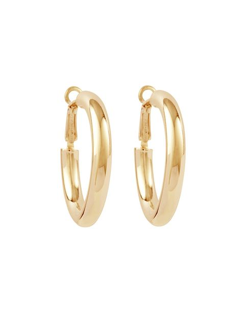 """<p>Gold hoop earrings, £95, <a href=""""http://susancaplan.co.uk/collections/earrings/products/18ct-gold-vermeil-hoop-earrings"""" target=""""_blank"""">Susan Caplan </a></p>"""
