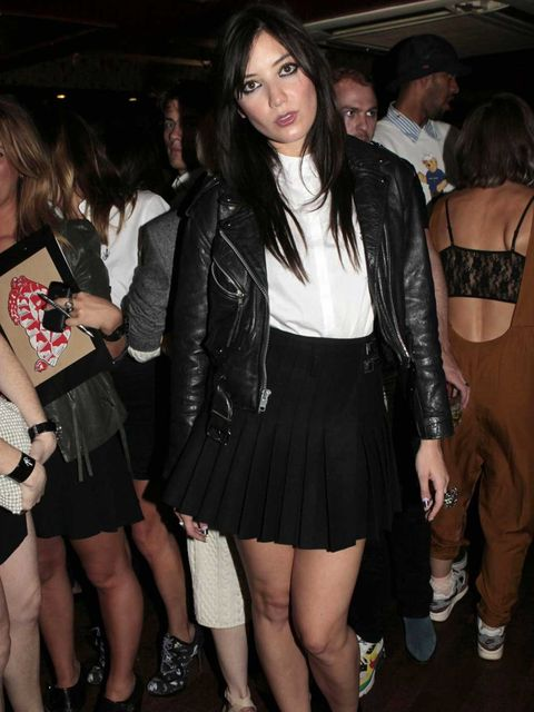 "<p>Daisy Lowe wearing a <a href=""http://www.elleuk.com/fashion/in-store-now/in-store-today-j.w.-anderson-x-topshop"">JW Anderson X Topshop</a> shirt and kilt and her signature biker jacket at the JW Anderson and Topshop party.</p>"