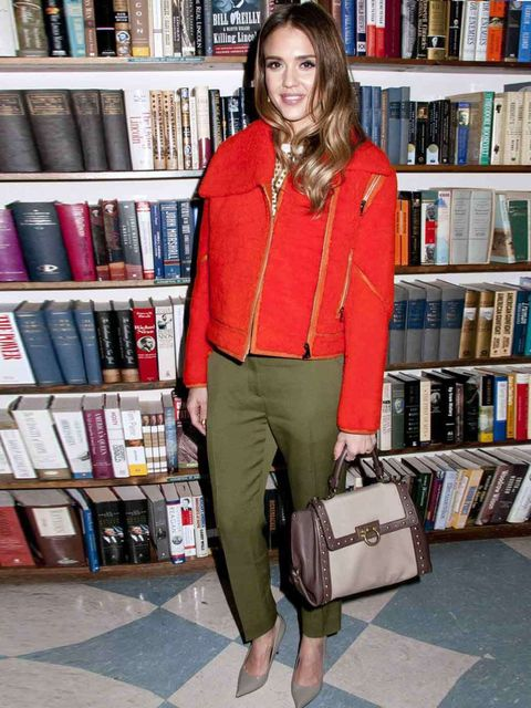 <p>Jessica Alba, is wearing a bright biker jacket to her book signing 'The Honest Life' in New York, March 2013.</p>