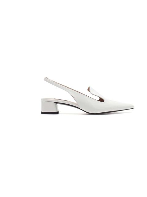 """<p>These white slingbacks are the epitome of simple summer dressing, with a nod to this season's trend for mid-heeled shoes... <a href=""""http://www.zara.com/webapp/wcs/stores/servlet/product/uk/en/zara-neu-S2013/363008/1188044/BLOCK+HEEL+POINTED+SHOE"""">Zara"""
