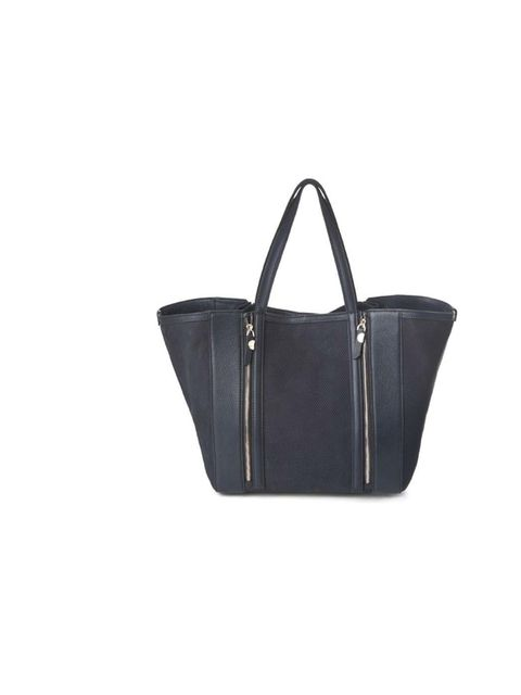 """<p>The deep navy of this bag is a softer alternative to traditional black, and no less versatile. The perforated panels and zips give some bite to the classic shopper design… <a href=""""http://www.uterque.com/webapp/wcs/stores/servlet/product/uterquegb/en/u"""