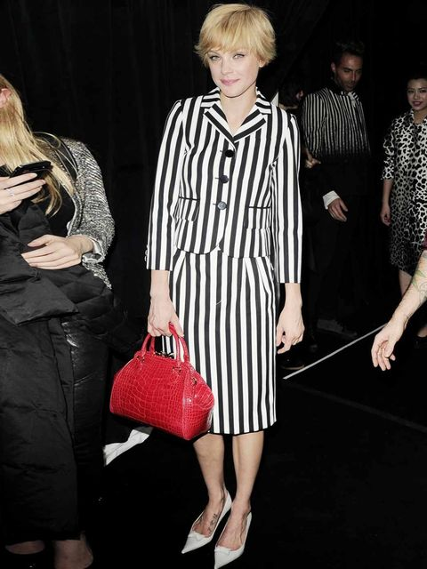 "<p>Jessica Stam attends the Marc Jacobs show for new York Fashion Week wearing a <a href=""http://www.elleuk.com/catwalk/designer-a-z/marc-jacobs/spring-summer-2013/collection"">Marc Jacobs</a> suit, February 2013.</p>"