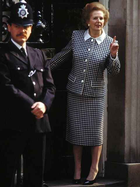 <p>Power Suits A boxy skirt suit was the Iron Lady's uniform - the perfect fusion of femininity and forcefulness.</p><p>Margaret Thatcher, gestures outside 10 Downing Street May, 1989.</p>