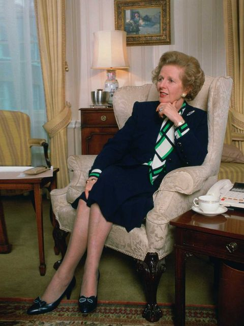 <p>Margaret Thatcher in the living room at 10 Downing Street, January 1990.</p>