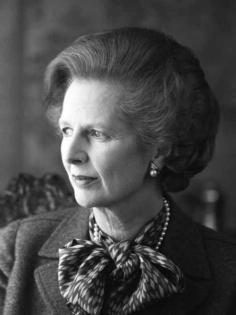 <p>Pussy BowsA softening touch to a harder look; Thatcher had an array of styles, colours and patterns, worn underneath her signature suits. </p><p>Margaret Thatcher poses inside Number 10 Downing Street in London, England on April, 1984.</p>