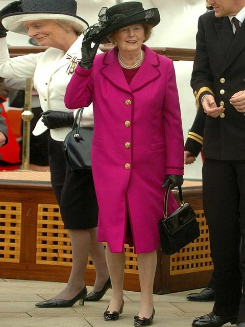<p>Margaret Thatcher unveiling a memorial archway to mark the 25th anniversary of the end of the Falklands War, 12 May 2007.</p>