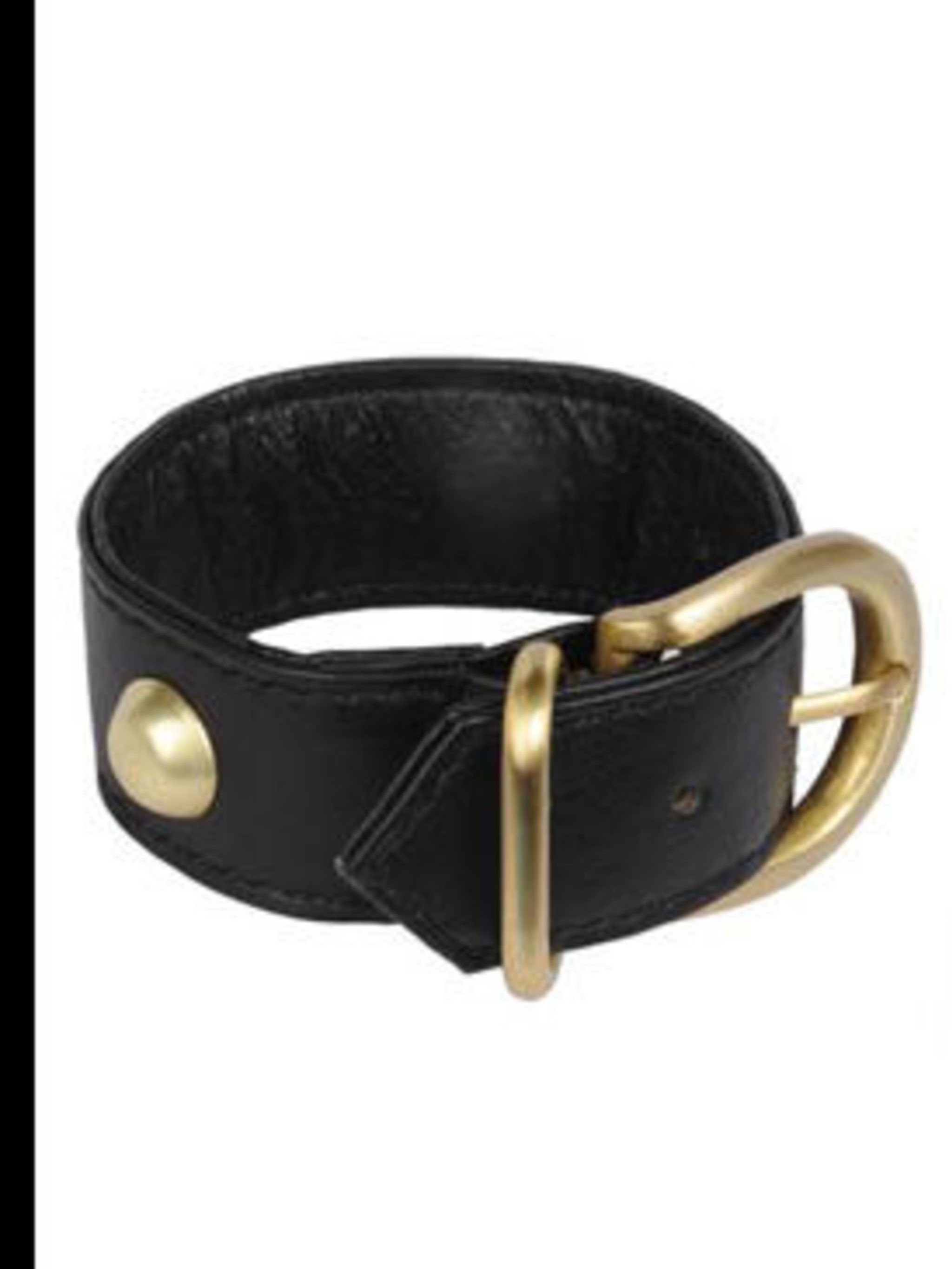 "<p>Leather Cuff, £12.50 by Leonie Saliba at <a href=""http://www.pretaportobello.com/Onlineproductdetail.aspx?PId=dd5deb04-351a-4ea3-91e4-e587f19af895"">Pret A Portobello</a></p>"