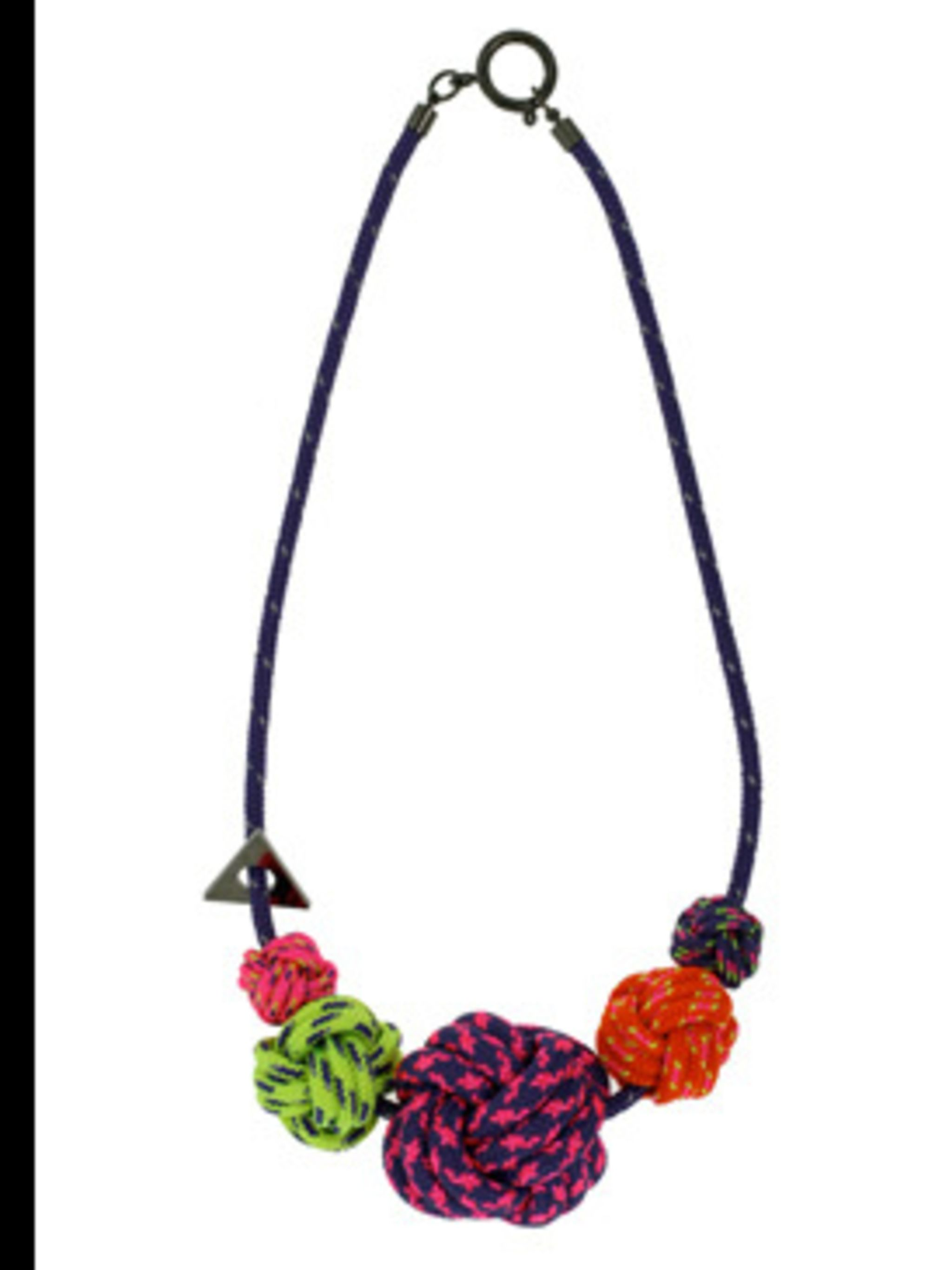 "<p>Necklace, £140 by Lanyard at <a href=""http://www.kabiri.co.uk/jewellery/necklaces/five_knot_necklacepurple"">Kabiri</a></p>"