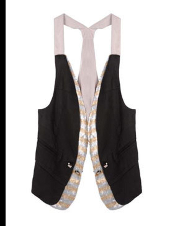 "<p>Waistcoat, £45 by Toki & Nabi at <a href=""http://www.pretaportobello.com/Onlineproductdetail.aspx?PId=8aedd31b-fda9-4be4-ac6e-00972eff7fe0"">Pret A Portobello</a></p>"