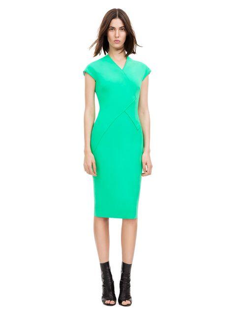 <p>Spearmint Wrap Collar Fitted Dress, £1,500. Original Season: Autumn/Winter 2011, Dress N° 100</p>