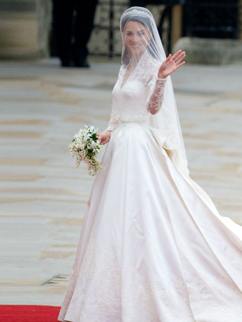 <p>Kate Middleton wore an Alexander McQueen designed dress to her wedding with Prince William.</p>