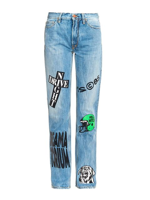 "<p><a href=""http://www.matchesfashion.com/products/Aries-Norm-straight-leg-vinyl-transfer-jeans-1027274"" target=""_blank"">Aries</a> jeans, £220 </p>"