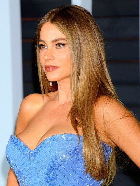<p>Sofia Vergara keeps her hair super sleek.</p>