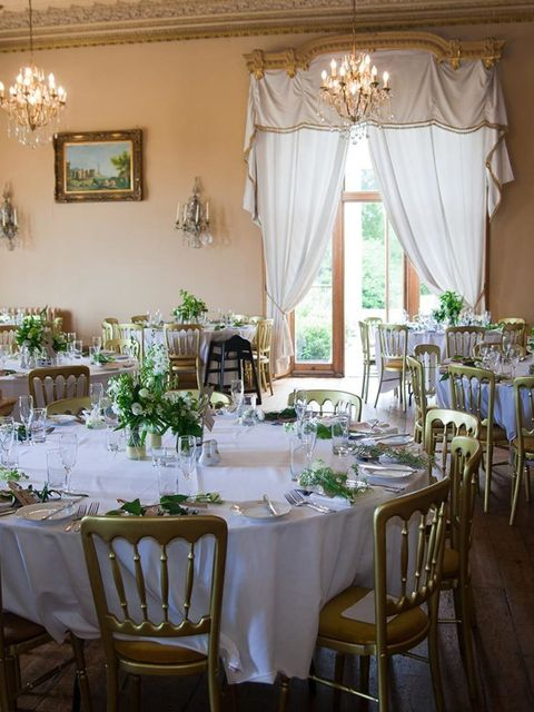"<p>The fact that the ballroom at <a href=""http://www.orchardleigh.net"" target=""_blank"">Orchardleigh House</a>  was so stunning made it easy to decorate, and the gold chairs and white table cloths tied in perfectly with out colour scheme. At each place set"