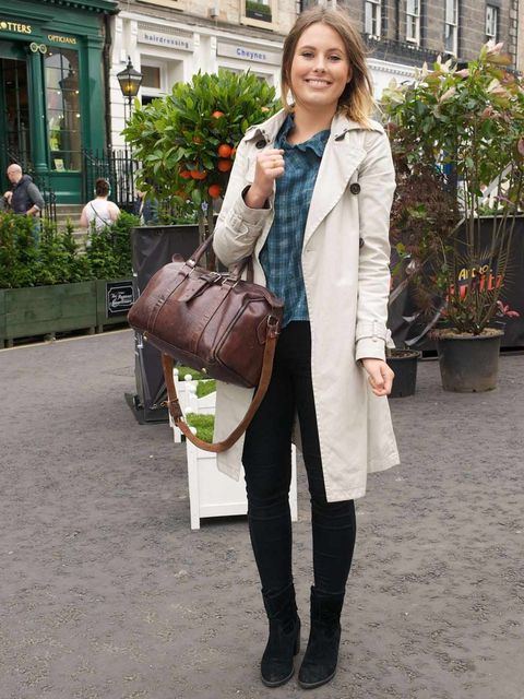 <p>Alice Howarth, 21, Graduate. Gap trench coat, JF & Son top, Topshop jeans, Carvella boots, vintage bag.</p>