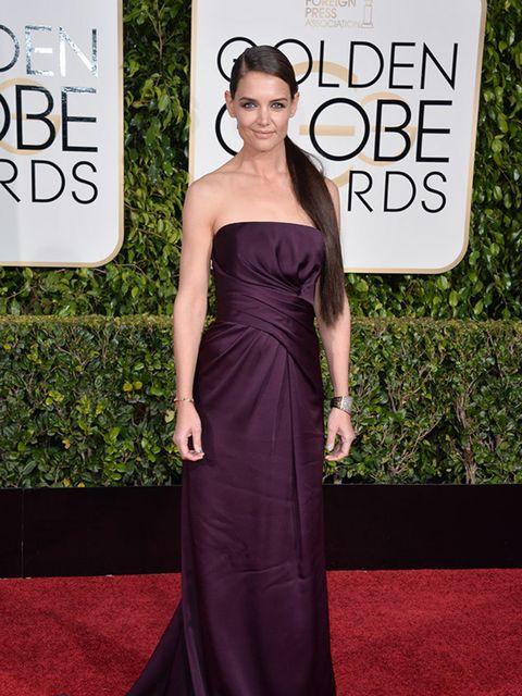 Katie Holmes wears Marchesa to the Golden Globe Awards, California, January 2015.