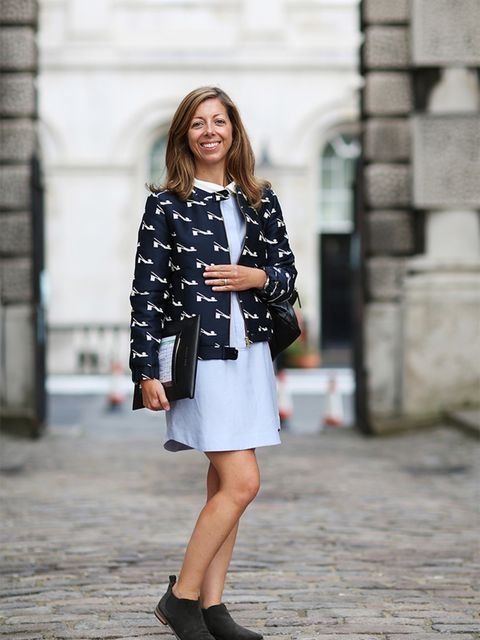 Kirsty Dale – Executive Fashion and Beauty Director  Orla Kiely jacket, Topshop dress, Whistles leather rucksack, Marks & Spencer boots.