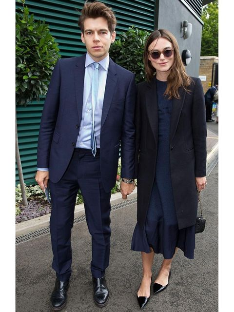 <p>Keira Knightley wearing Jimmy Choo Attila shoes with James Righton to the Wimbledon Championships 2014.</p>