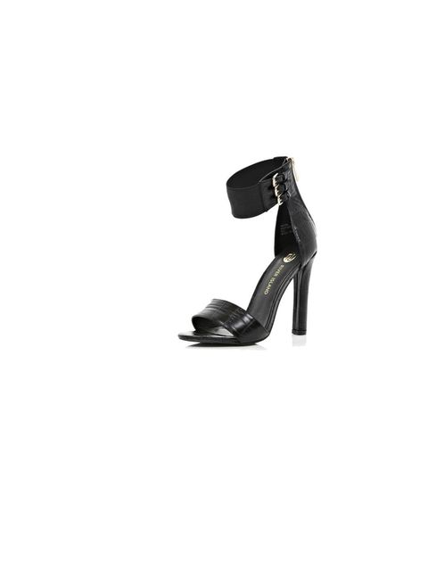 "<p>Step up your game with <a href=""http://www.riverisland.com/women/shoes--boots/heels/Black-snake-barely-there-sandals-641165"">River Island</a>'s sexy snake heels, £45</p>"