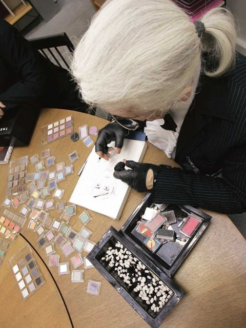 <p>Karl Lagerfeld adding colour to a sketch with Shu Uemura eye shadows</p>
