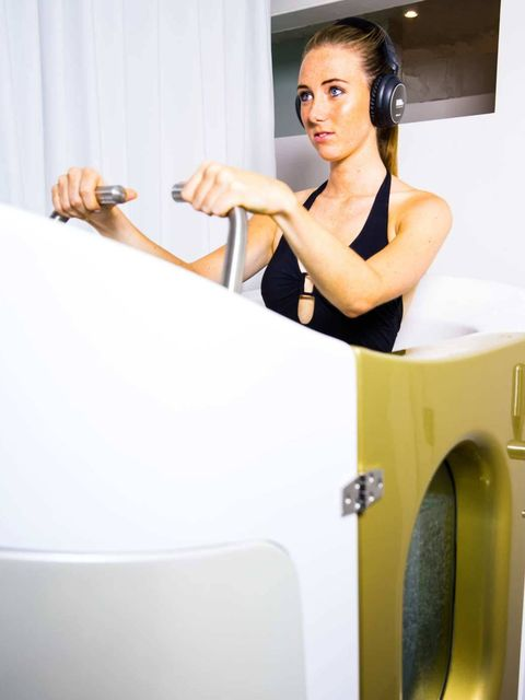 <p>At HydroFit you get your own water cabin complete with underwater bike, hydro jets, the choice of music or video, as well as Bluetooth headsets so you can make private phone calls (very multi-tasking). The idea is you can walk, jog or cycle in the wate