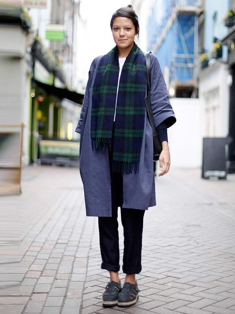 <p>Lara, 24, Copy Writer. Cos coat, trousers and bag, ASOS shoes vintage scarf.</p>