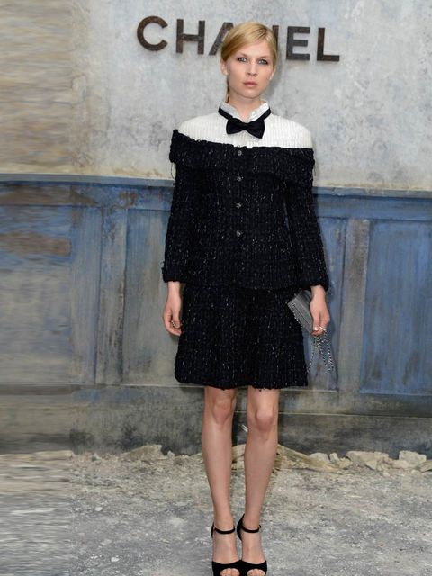 """<p><a href=""""http://www.elleuk.com/star-style/celebrity-style-files/clemence-poesy"""">Clemence Poesy</a> at the <a href=""""http://www.elleuk.com/catwalk/designer-a-z/chanel/couture-aw-2013"""">Chanel</a> Haute Couture show, Paris, July 2013. </p>"""