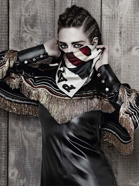 <p>Kristen Stewart shot by Karl Lagerfeld for the Metiers d'art Paris Dallas 2014 ad campaign.</p>
