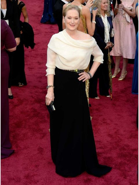 "<p><strong>Meryl Streep</strong>: She looks totally at ease and comfortable on the red carpet. She's chosen a <a href=""http://www.elleuk.com/catwalk/designer-a-z/lanvin"">Lanvin</a> blouse and skirt rather than a dress, paired with great accessories to add"
