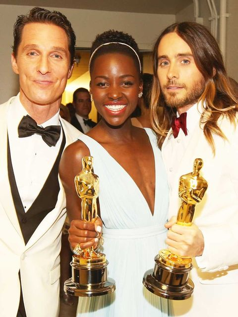 <p>Winners Matthew McConaughey, Lupita Nyongo and Jared Leto backstage at the Academy Awards 2014</p>