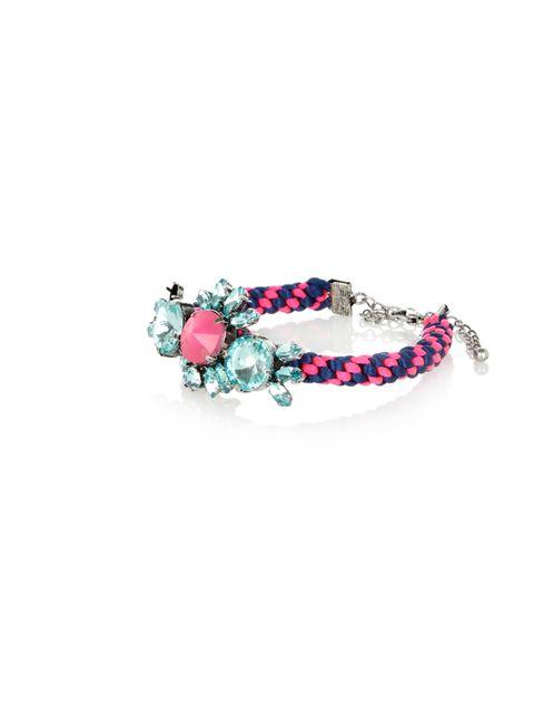 """<p><a href=""""http://www.riverisland.com/Online/women/jewellery/bracelets/purple-woven-crystal-bracelet-625032"""">River Island</a> woven crystal bracelet, £12</p>"""