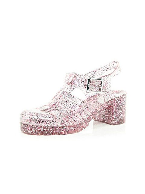 "<p>Relive your childhood in these great jellys, £18 at <a href=""http://www.riverisland.com/women/shoes--boots/heels/Pink-glitter-block-heel-jelly-shoes-650905"">River Island</a>.</p>"