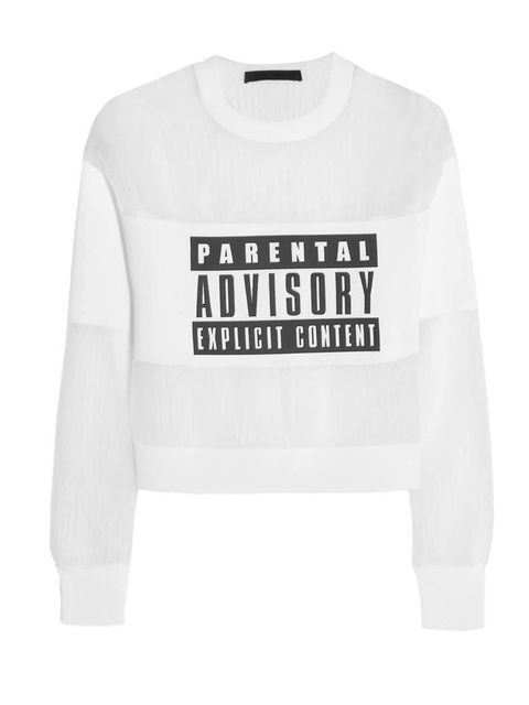 "<p>Alexander Wang's <em>Parent Advisory</em> jumper, £835 at <a href=""http://www.net-a-porter.com/product/421881"">Net-a-Porter</a>.</p>"