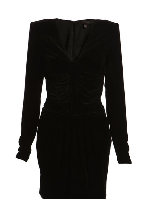 "<p><a href=""http://www.tedbaker.com/women%27s/dresses/84151-velvet_dress/detail.aspx?pfm=search"">Ted Baker</a> velvet dress, £159</p>"