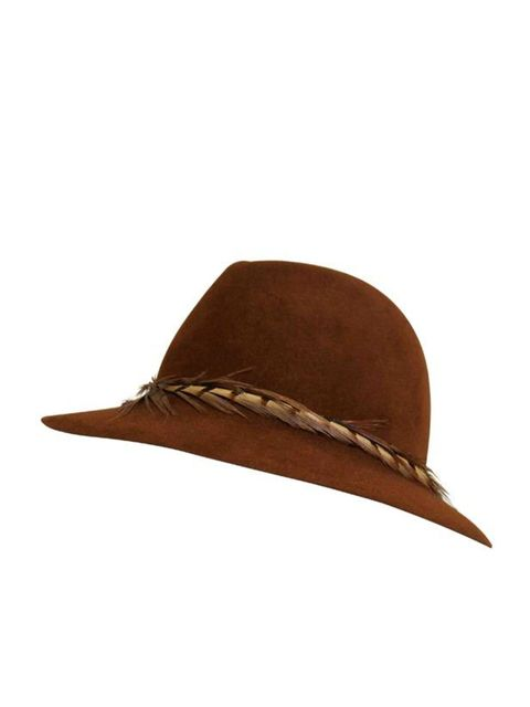 "<p><a href="""">Eugeniua Kim</a> feather band fedora, £185</p>"