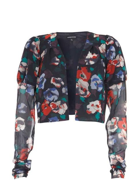 """<p> </p><p>Dress up a plain white Tee or add a pretty twist to a black dress with this sheer cropped jacket… <a href=""""http://www.warehouse.co.uk///warehouse/fcp-product/302847"""">Warehouse</a> cropped jacket, £45</p>"""