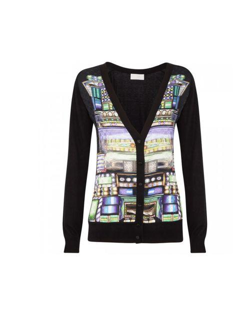 "<p>Peter Pilotto silk printed cardigan, £490, at <a href=""http://www.harveynichols.com/womens/categories-1/designer-knitwear/cardigans/s421415-trompe-l-oeil-silk-blend-cardigan.html?colour=NAVY"">Harvey Nichols</a></p>"