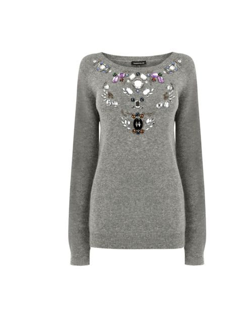 """<p>The days of the silk blouse ad luxe T-shirt are over (for now) and it's time for the cosy knit to make its mark. Look no further than this embellished bargain… Warehouse jewelled jumper, £48</p><p><a href=""""http://shopping.elleuk.com/browse?fts=warehous"""