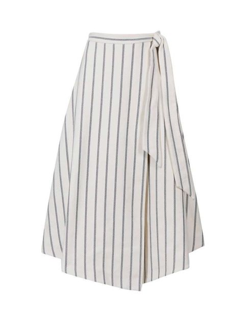 "<p>Freelance Fashion Assistant Felicity Kay will pair this wrap skirt with a white shirt and ankle boots.</p>  <p><a href=""http://www.marksandspencer.com/cotton-rich-striped-a-line-skirt/p/p22387010#"" target=""_blank"">Marks & Spencer</a> skirt, £55</p>"