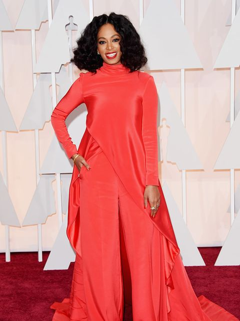 <p><strong>RED</strong></p>  <p>Solange Knowles attends the 2015 Academy Awards in LA</p>