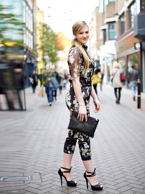 "<p>Miette wears Erdem jumpsuit £1,120 from <a href=""http://www.matchesfashion.com/product/178567"">Matchesfashion.com</a>, Fendi shoes, Asos clutch, H&amp;M ring </p>"