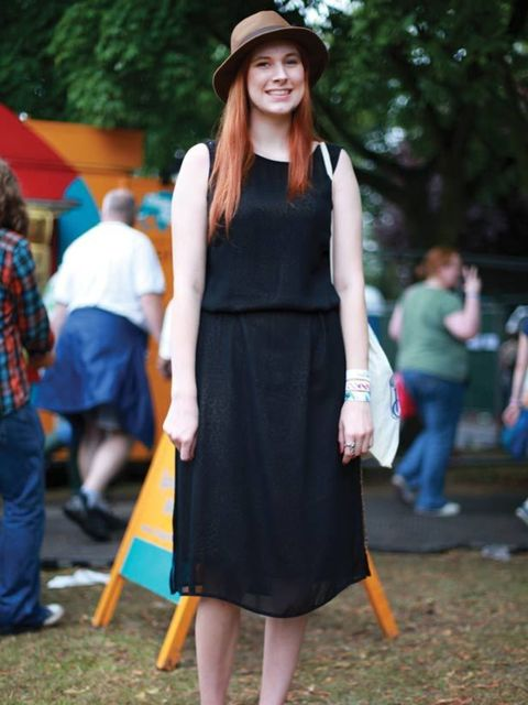 <p>Photo by Lucie Kerley.Amy Critchlow, 21, Fashion Student. Urban Outfitters dress, Russell and Bromley shoes, H&amp&#x3B;M hat.</p>