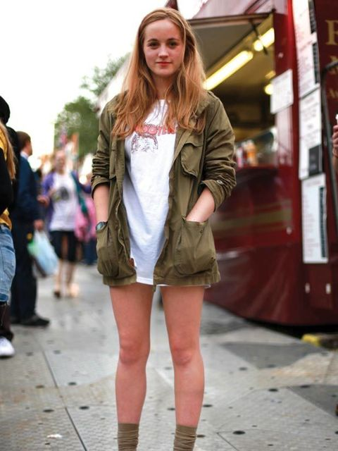 <p>Photo by Lucie Kerley.Chloe Morgan-Webster, 17, Student. T-shirt from Ebay, H&amp&#x3B;M jacket and shorts, Size shoes.</p>