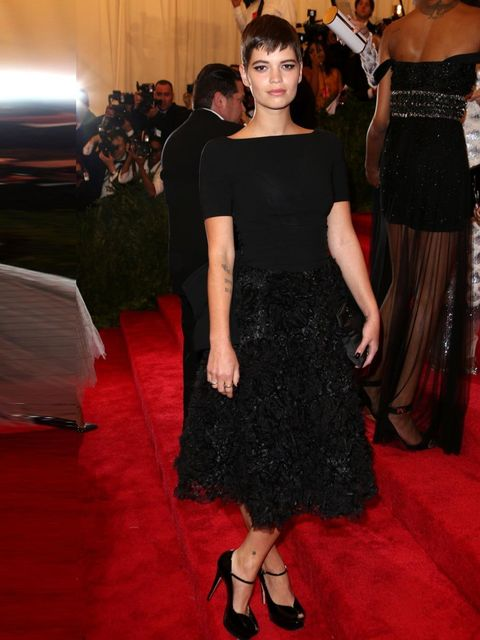 "<p>Pixie Geldof wearing <a href=""http://www.elleuk.com/catwalk/designer-a-z/moschino/autumn-winter-2013"">Moschino</a> black gown to the<a href=""http://www.elleuk.com/star-style/red-carpet/best-met-ball-fashion-moments-2013""> Costume Institute Gala Benefit"