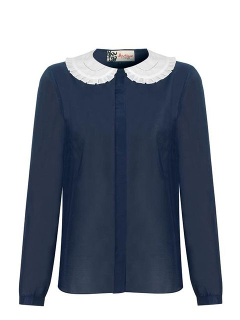 """<p><a href=""""http://www.jaeger.co.uk/Boutique-New_Season_Collection"""">Boutique by Jaeger</a> Peter Pan collar blouse, £150</p>"""