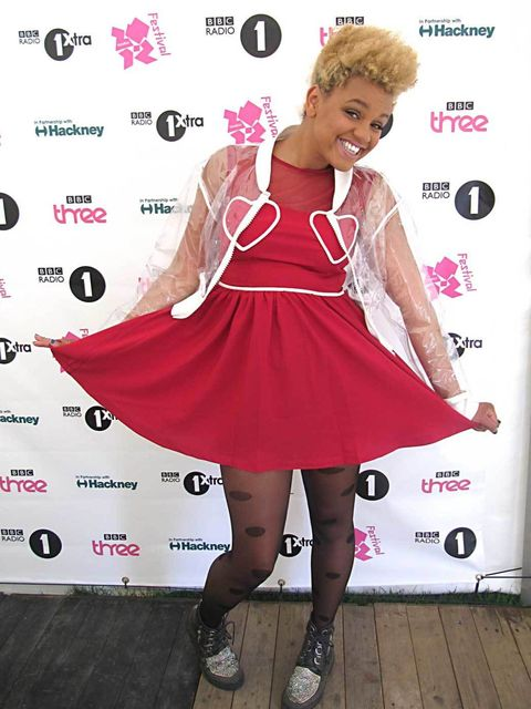 <p>Gemma Cairney at Radio 1 Hackney Weekend, wearing a Two Weeks by Bitching and Junkfood bomber, Topshop dress, Pamela Mann tights, Terry de Havilland boots and a Galibardy ring</p>