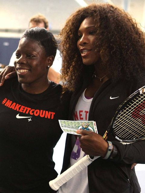 <p>Serena Williams on the court at the National Tennis Centre</p>
