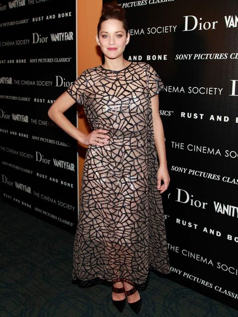 <p>Marion Cotillard in Christian Dior Spring Summer 13, at a Rust and Bone screening in New York.</p>