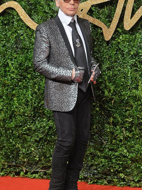 Karl Lagerfeld attends the British Fashion Awards in London, November 2015.